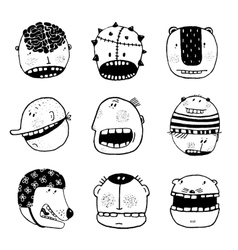 Doodle Outline Cartoon Funny Monster Faces with vector image