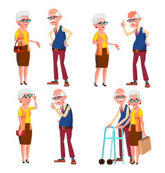 elderly couple set grandfather and vector image