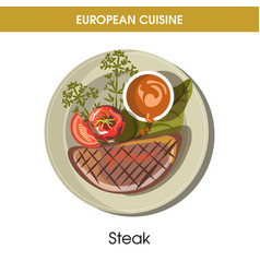 european cuisine meat steak traditional dish food vector image