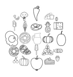 feed icons set outline style vector image