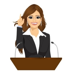 female orator standing behind a podium vector image