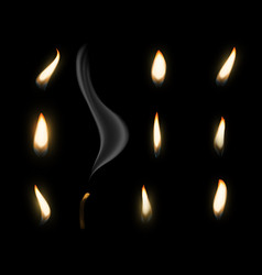 Fire flame candle realistic candlelight burning vector