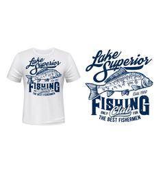 fishing club t-shirt print mockup with carp vector image
