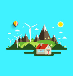 flat design abstract landscape nature scene vector image vector image