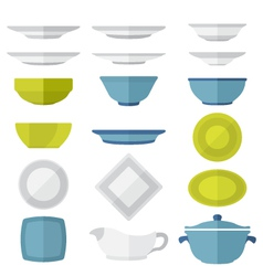 flat design dinnerware set vector image