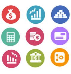 Flat finance icon set vector