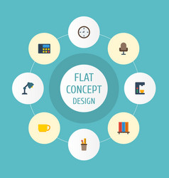 flat icons armchair watch tea and other vector image