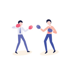 flat office workers fight in boxing gloves vector image