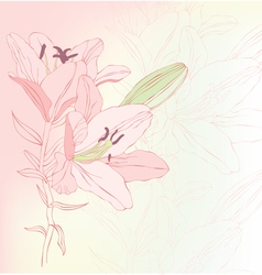Floral background with lilies vector