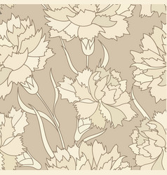 floral retro seamless pattern flower engraved vector image