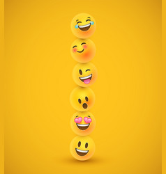 Fun yellow 3d emoticon face icons in funny tower vector