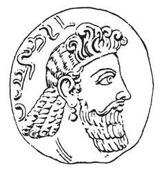 Gem means carving in intaglio vintage engraving vector