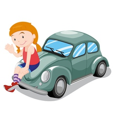 Girl and car vector image