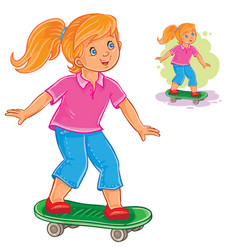 Girl skateboarding vector