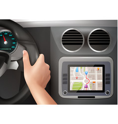Gps navigation in car vector
