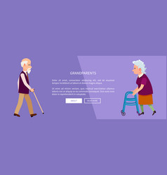 grandparents web banner with grandpa and grandma vector image