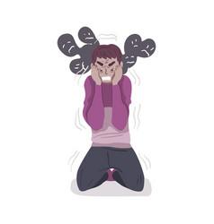guy in depressive state mind mental health vector image