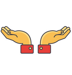 Hands support concept line icon editable vector