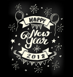 happy new year 2018 poster lettering vector image