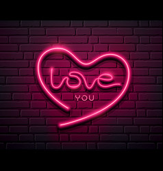 heart shape love you message neon iight pink vector image