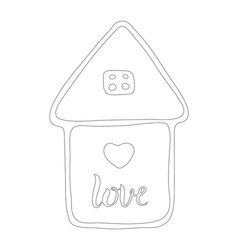 house with love hearts hand drawn vector image