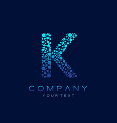k letter logo science technology connected dots vector image