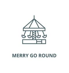 merry go roundcarouselkindergarten line vector image