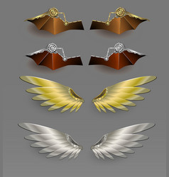 Metal wings steampunk design vector