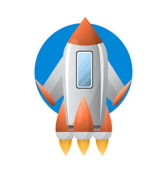 Metallic futuristic spaceship vector