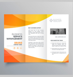Modern orange trifold brochure template in wave vector