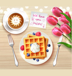 mothers day flatlay composition vector image