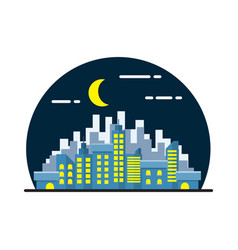 Night city landscape flat design vector