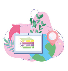 Online education tablet computer and books vector