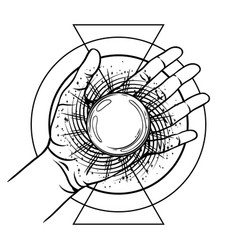open hand with magic ball vector image