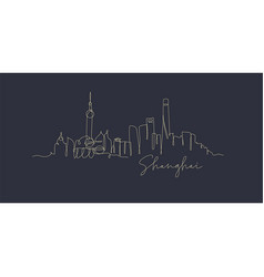 pen line silhouette shanghai dark blue vector image