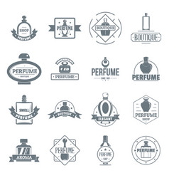Perfume bottles logo icons set simple style vector
