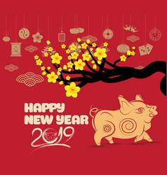 pig chinese new year with blossom and firecracker vector image