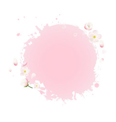 Pink stain with flowers vector