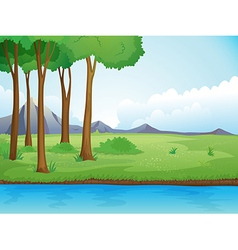 River and a tree in beautiful nature vector image