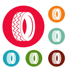 round tire icons circle set vector image