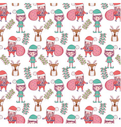 santa claus with bags and helpers pattern vector image