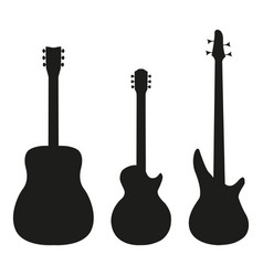 set guitar in silhouette style on a white vector image