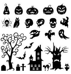 set halloween silhouettes vector image