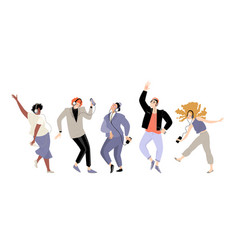 set images young people listening to music vector image