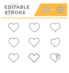 set line icons heart and love concept vector image