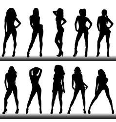 Set of girl silhouettes vector image vector image