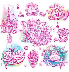 Set of love sketchy vector image