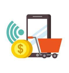 smartphone shopping cart money nfc payment vector image