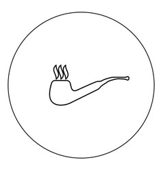 smoking pipe icon black color in circle isolated vector image