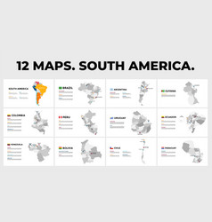 South america map infographic templates vector